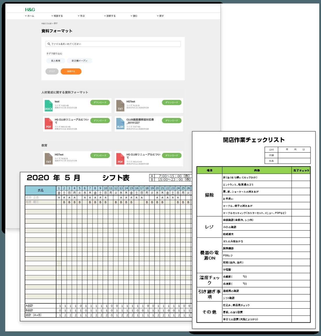 シフト表・開店作業チェックリスト